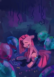 Size: 2011x2874 | Tagged: safe, artist:holivi, pinkie pie, earth pony, pony, balloon, crying, eyes closed, female, high res, mare, pinkamena diane pie, sad, sitting, solo