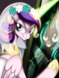 Size: 742x974 | Tagged: safe, artist:honeyl17, princess cadance, queen chrysalis, alicorn, changeling, changeling queen, pony, disguise, disguised changeling, fake cadance, female, looking at you, mare, mirror, smiling