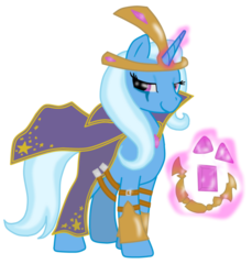 Size: 1100x1200 | Tagged: safe, artist:virenth, trixie, pony, unicorn, clothes, costume, crossover, female, league of legends, leblanc, magic, mare, simple background, solo, transparent background