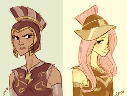 Size: 1280x975 | Tagged: safe, artist:emmy, commander hurricane, fluttershy, private pansy, rainbow dash, humanized