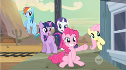 Size: 1280x710 | Tagged: safe, screencap, fluttershy, pinkie pie, rainbow dash, rarity, twilight sparkle, the last roundup, hub logo, hubble