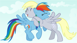 Size: 1920x1080 | Tagged: artist:adcoon, derpydash, derpy hooves, female, friendshipping, hug, lesbian, mare, pegasus, pony, rainbow dash, safe, shipping, vector