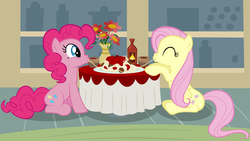 Size: 1920x1080 | Tagged: artist:adcoon, eating, female, flutterpie, fluttershy, lesbian, mare, pinkie pie, safe, shipping