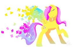 Size: 2700x1800 | Tagged: artist:stupidyou3, butterfly, eyes closed, fluttershy, raised hoof, safe, simple background, solo, spread wings, white background