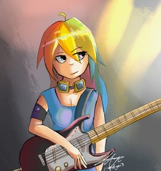 Size: 1500x1593 | Tagged: artist:stupidyou3, guitar, humanized, rainbow dash, safe, solo