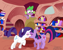Size: 800x633 | Tagged: source needed, safe, artist:sparkster, rarity, spike, twilight sparkle, and then spike was a man, blushing, drake, female, golden oaks library, kissing, lesbian, lesbian in front of boys, mare, rarilight, shipping, sweat, voyeurism