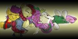 Size: 692x352 | Tagged: safe, artist:rannva, apple bloom, scootaloo, spike, sweetie belle, braid, clothes, cutie mark crusaders, pajamas, sleeping, sleepover