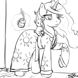 Size: 900x900 | Tagged: artist:speccysy, bathrobe, bed mane, best pony, clothes, coffee, morning ponies, mug, princess celestia, robe, safe, sketch, solo, teddy bear