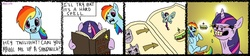 Size: 4428x999 | Tagged: artist:multiversecafe, book, comic, faic, flehmen response, horses doing horse things, magic, magic book, rainbow dash, safe, sandwich, spell, twilight sparkle