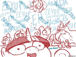 Size: 900x675 | Tagged: safe, artist:aa, big macintosh, fluttershy, pinkie pie, princess celestia, snails, snips, twilight sparkle, earth pony, pony, bronycon, comic, convention, male, panel, parody, scene interpretation, sketch, stallion, voice actor