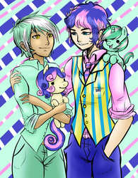 Size: 1280x1645 | Tagged: artist:animecreator, bishonen, bon bon, boy bon, gay, guyra, humanized, human ponidox, lyrabon, lyra heartstrings, male, pony, rule 63, safe, shipping, sweetie drops