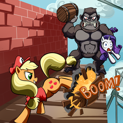 Size: 1000x1000 | Tagged: safe, artist:madmax, applejack, rarity, gorilla, barrel, brick wall, bucking, clothes, cosplay, crossover, donkey kong, donkey kong series, female, hat, mario, super mario bros.