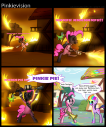 Size: 1000x1198 | Tagged: safe, artist:subjectnumber2394, gummy, pinkie pie, twilight sparkle, alternate character interpretation, bipedal, comic, conversation, crossover, dialogue, fire, flamethrower, funny, funny as hell, gas mask, gummy doesn't give a fuck, lmao, lmfao, lol, meet the pyro, paint, paint on fur, partillery, pinkie pyro, pyro, pyropinkie, pyrovision, rainblower, rofl, subversion, team fortress 2, weapon