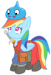 Size: 2477x3609 | Tagged: safe, artist:he4rtofcourage, rainbow dash, clothes, crossover, dragon quest (game), high res, simple background, slime, solo, sword, transparent background, weapon