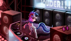 Size: 2166x1269 | Tagged: artist:tsitra360, dj pon-3, equestrian innovations, headphones, safe, solo, speakers, vinyl scratch
