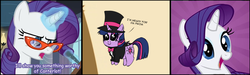 Size: 1000x300 | Tagged: chibi, glasses, rarity, safe, twilight sparkle