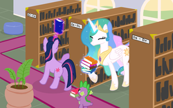 Size: 2200x1380 | Tagged: artist:lightbulb, book, carrying, cute, eyes closed, happy, library, magic, princess celestia, raised hoof, safe, slice of life, smiling, spike, telekinesis, twilight sparkle
