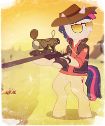 Size: 1000x1200 | Tagged: safe, artist:reynaruina, twilight sparkle, pony, unicorn, bipedal, clothes, cutie mark, dusk shine, gun, hat, hooves, horn, male, optical sight, rifle, rule 63, sniper, sniper rifle, solo, stallion, sunglasses, team fortress 2, unicorn dusk shine, weapon