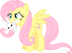 Size: 744x548 | Tagged: safe, artist:nedemai, angel bunny, fluttershy, pegasus, pony, rabbit, angry, animal, scruff, simple background, transparent background