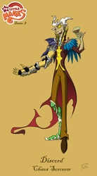 Size: 842x1526 | Tagged: safe, artist:didj, discord, my little mages, armor, gauntlet, humanized, skinny