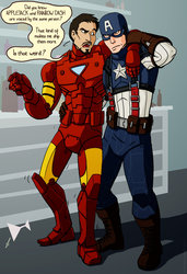 Size: 800x1173 | Tagged: safe, artist:res-gestae, human, captain america, iron man, pony reference, tony stark, unamused