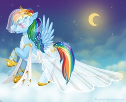 Size: 992x802 | Tagged: safe, artist:tinuleaf, rainbow dash, clothes, cloud, cloudy, dress, moon, night, sky, solo, stars, veil, wedding dress