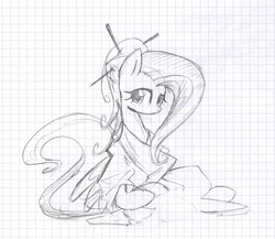 Size: 1280x1112 | Tagged: safe, artist:skutchi, fluttershy, chopsticks in hair, graph paper, kimono (clothing), pencil drawing, sketch, traditional art