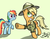 Size: 950x750 | Tagged: safe, artist:flavinbagel, applejack, rainbow dash, earth pony, pegasus, pony, appledash, blushing, clothes, cosplay, daring do costume, female, freckles, hat, lesbian, loose hair, mare, shipping, signature, simple background