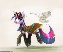 Size: 1150x946 | Tagged: safe, artist:foxinshadow, twilight sparkle, clothes, dress, goggles, magic, quill, solo, steampunk