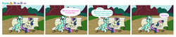Size: 1677x357 | Tagged: safe, artist:botchan-mlp, bon bon, lyra heartstrings, sweetie drops, earth pony, pony, unicorn, bench, comic, duo, mare of a thousand voices, sitting, sitting lyra, touché, voice