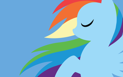 Size: 2400x1500   Tagged: safe, artist:megasweet, part of a set, rainbow dash, pegasus, pony, blue background, eyes closed, female, lineless, mare, minimalist, simple background, solo, wallpaper, wings