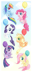 Size: 800x1785   Tagged: safe, artist:steffy-beff, applejack, fluttershy, pinkie pie, rainbow dash, rarity, twilight sparkle, earth pony, pegasus, pony, unicorn, balloon, chibi, cloud, colored pupils, cute, diapinkes, floating, mane six, open mouth, profile, sky, then watch her balloons lift her up to the sky