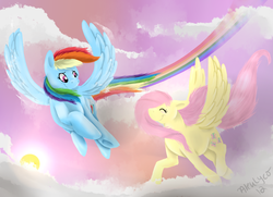 Size: 979x710 | Tagged: safe, artist:aleuwolfess, fluttershy, rainbow dash, pegasus, pony, duo, female, flying, looking at each other, mare, palindrome get, sky, smiling, spread wings, windswept mane, wings