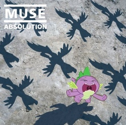 Size: 400x396 | Tagged: absolution, album cover, artist:doctorxfizzle, dragon, hipgnosis, muse, parody, ponified, ponified album cover, pony, safe, spike