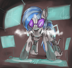 Size: 1556x1475 | Tagged: safe, artist:valcron, dj pon-3, vinyl scratch, android, robot, female, gynoid, solo