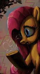 Size: 3850x7000 | Tagged: safe, artist:docwario, fluttershy, pony, robot, bust, female, holding, looking at something, mare, open mouth, raised hoof, solo, three quarter view
