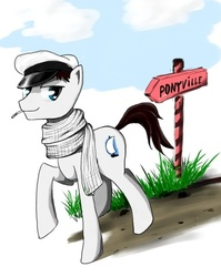 Size: 450x566 | Tagged: safe, artist:madhotaru, clothes, hat, looking at you, male, mouth hold, ostap bender, ponified, scarf, soviet, stallion, the twelve chairs
