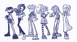 Size: 1200x661 | Tagged: safe, artist:grimarionette, applejack, fluttershy, pinkie pie, rainbow dash, rarity, twilight sparkle, breasts, clothes, delicious flat chest, dress, flattershy, humanized, line-up, mane six, monochrome, shoes, sketch, skinny, skirt, sneakers