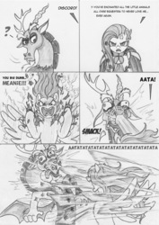 Size: 884x1250 | Tagged: safe, artist:leovictor, discord, fluttershy, angry, atatatatata, aura, broken teeth, comic, hokuto no ken, open mouth, punch, question mark, rage, raised eyebrow, spread wings, this will end in pain and/or death, wide eyes
