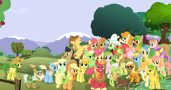 Size: 1024x539 | Tagged: safe, artist:90sigma, artist:abydos91, artist:atmospark, artist:daringdashie, artist:mandydax, artist:rainbowplasma, apple bloom, apple bumpkin, apple cider (character), apple cobbler, apple fritter, apple honey, apple munchies, apple strudel, apple strudely, apple tarty, applejack, aunt orange, big macintosh, braeburn, buttercream, caramel apple, gala appleby, ginger gold, golden delicious, granny smith, jonagold, lavender fritter, marmalade jalapeno popette, pacific rose, peachy sweet, perfect pie, pink lady, red delicious, red gala, uncle orange, violet fritter, winona, earth pony, pony, apple family, apple family member, female, filly, male, mare, orange wafer, stallion, sundowner (character), the oranges