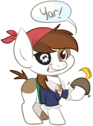 Size: 491x667 | Tagged: safe, artist:php27, pipsqueak, bandana, clothes, costume, eyepatch, hook, pirate, solo, speech bubble