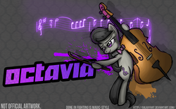 Size: 1920x1200 | Tagged: safe, artist:galaxyart, octavia melody, pony, fighting is magic, cello, female, hoof hold, mare, musical instrument, smiling, style emulation