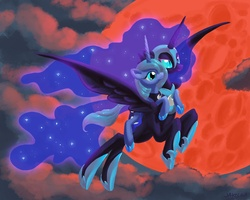 Size: 5250x4200 | Tagged: absurd res, artist:docwario, female, flying, helmet, nightmare moon, ponies riding ponies, princess luna, s1 luna, safe, self ponidox