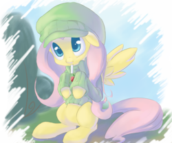 Size: 2400x2000 | Tagged: artist:chingilin, clothes, cute, drink, fluttershy, hat, high res, juice box, pegasus, pony, safe, shyabetes, solo, sweater, sweatershy