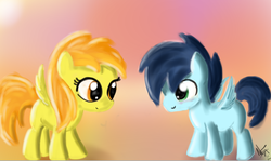 Size: 761x455 | Tagged: artist:jubrony, colt, female, filly, foal, male, safe, shipping, soarin', soarinfire, spitfire, straight