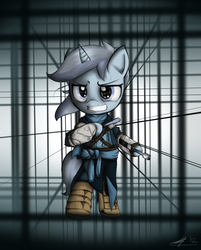 Size: 1060x1320 | Tagged: artist:a17spartan768, assassin's creed, bipedal, clothes, crossover, minuette, pony, safe, solo, toothbrush
