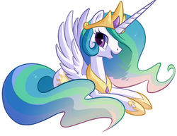 Size: 777x600 | Tagged: safe, artist:reuniclus, princess celestia, alicorn, pony, cute, cutelestia, female, mare, open mouth, prone, simple background, smiling, solo, spread wings, white background
