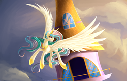 Size: 1399x900 | Tagged: artist:aurarrius, flying, princess celestia, safe, solo