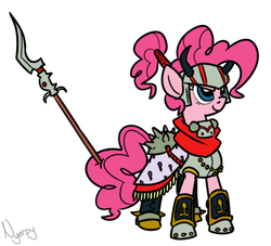 Size: 500x453 | Tagged: artist:nyerpy, clothes, costume, crossover, final fantasy, gilgamesh, pinkie pie, safe, solo
