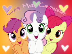 Size: 1024x768 | Tagged: apple bloom, artist:ichigooneechan66, cutie mark crusaders, female, filly, open mouth, safe, scootaloo, sweetie belle, wallpaper